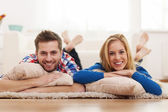 Couple at domestic room — Stock Photo