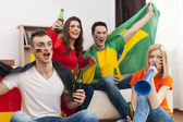 People cheering football match — Stock Photo