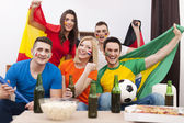 Multi national football fans — Stock Photo