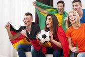 Soccer fans  watching match — Stock Photo