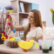 Woman decorating home for easter — Stock Photo #42804775