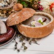 White borscht with sausage and eggs — Stock Photo