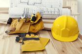 Work tools on wood — Стоковое фото