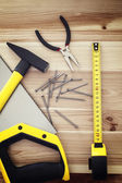 Work tools on wood — Stock Photo