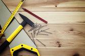 Ferramentas de trabalho em madeira — Fotografia Stock