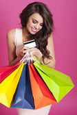 Portrait of beautiful shopaholic — Foto de Stock