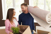 Couple during the moving house — Stock fotografie