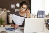 Woman hard working at home — Stock Photo