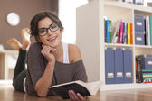 Woman with her favorite book — Stock Photo