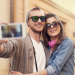 Couple taking selfie by mobile phone — Stock Photo #46360587