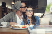 Couple at cafe — Stockfoto