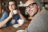 Hipster man at cafe — Foto Stock