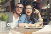 Couple spending lunch time together — Stock Photo