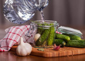Preparation of pickled cucumbers — Stock Photo