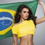 Brazilian female football fan — Stock Photo #47363495