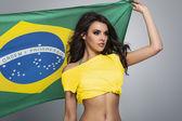 Fã clube brasileiro de futebol feminino — Fotografia Stock