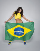 Woman supporting of brazilian soccer team — Stock Photo