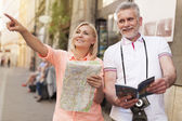 Mature tourist sightseeing city — Stock Photo