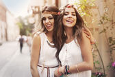 Hippie female friends — Stock Photo