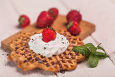 Dessert from waffles — Stock Photo