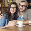 Embracing couple  at cafe — Stock Photo #49932447