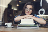 Female student at cafe — Stock Photo