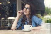 Woman wearing fashionable glasses — Stock Photo