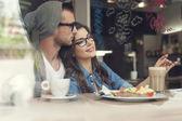 Loving couple at cafe — Stock Photo