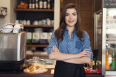 Friendly waitress at work — Stock Photo
