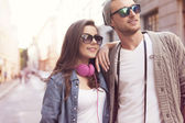 Stylish couple in the city — Stock Photo