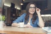 Beautiful woman at cafe — Stock Photo