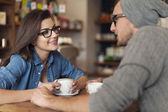 Loving couple on date at cafe — Stock Photo