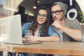 Couple enjoying the wireless internet — Stock Photo