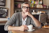 Stylish man at cafe — Stock Photo
