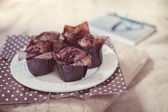 Sweet muffins, coffee and book — Stock fotografie