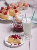 Sweet food with milk — Stock Photo