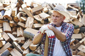 Mature lumberjack resting — Stock Photo