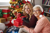 Grandma always visits us at Christmas — Stock Photo