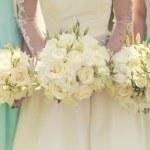 bruid met de bruidsmeisjes — Stockfoto