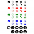 Contact icons black red green blue white - Vettoriali Stock