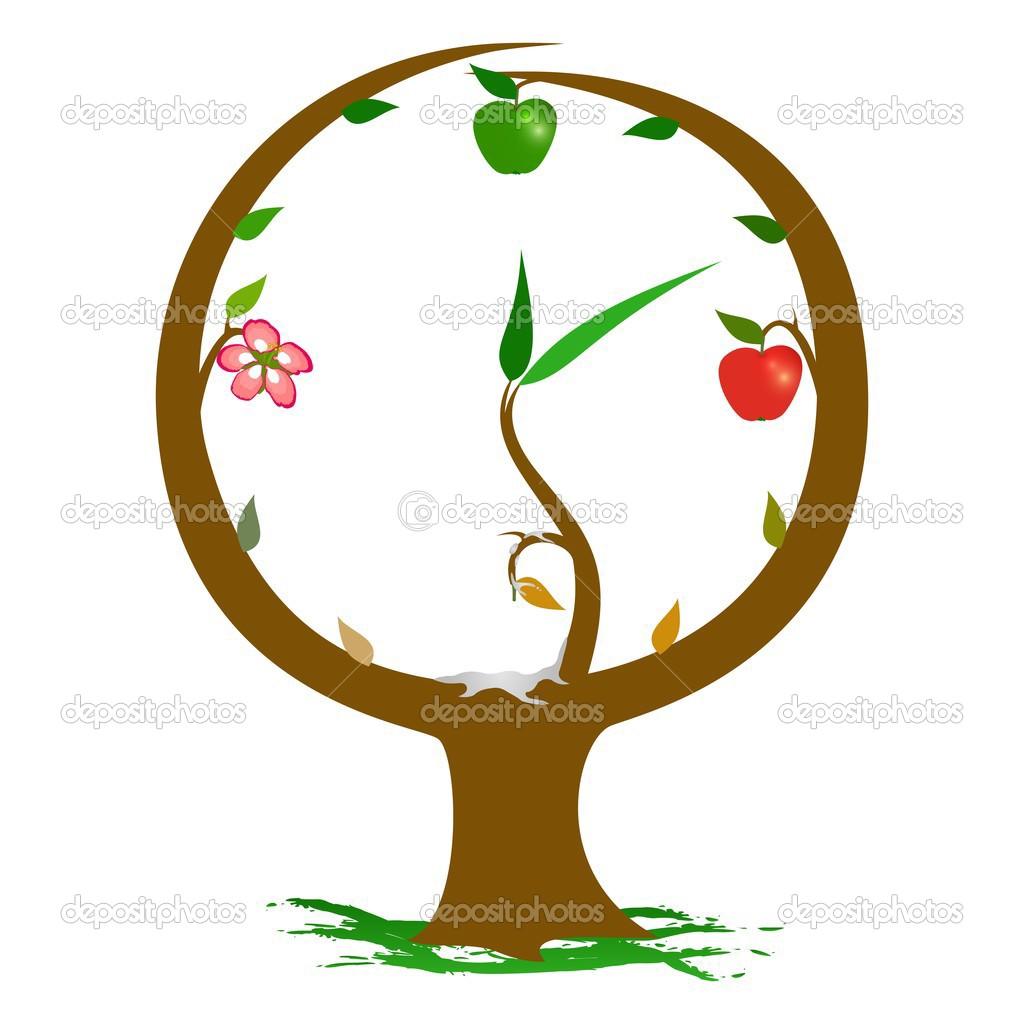 插图表示时钟树暗示季节演替 — 矢量图片作者 florintenica