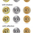 Badges - gold, silver, bronze — Stock Vector