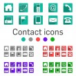 Contact icons 5 colors long shadow — Stock Vector