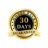 Money back guarantee golden badge — Stock Vector