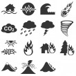 Natural disasters icon set — Stock Vector