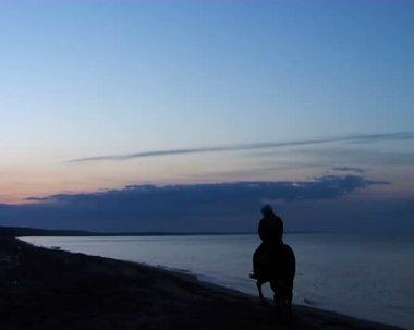 Mysterious horseman leaves on sunrise — Stock Video