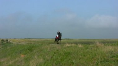 Girl riding a horse in the steppe — Stock Video