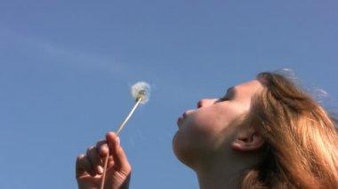 Girl, dandelion and sky — Stock Video