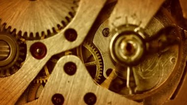 The mechanism of old watches. Close-up. Middle focus — Vídeo de Stock