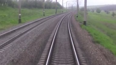 Railroad track. Forward view — Stock Video